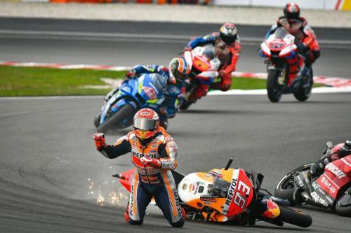 Marc Marquez terjatuh di MotoGP Malaysia 2019 (Foto: MotoGP)