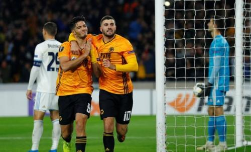 Raul Jimenez menyumbang gol tunggal kemenangan Wolverhampton Wanderers di Liga Eropa 2019-2020 (Foto: Reuters)