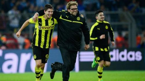Robert Lewandowski dan Jurgen Klopp saat di Dortmund