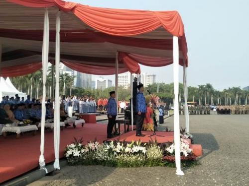 Gubernur DKI Jakarta Anies Rasyid Baswedan menjadi inspektur upacara Hari Pahlawan 2019. (Foto: Achmad Fardiansyah/Okezone)