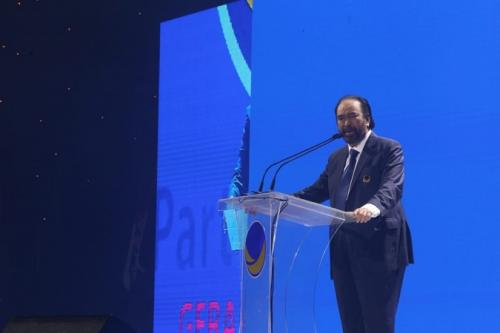 Ketua Umum Partai Nasdem Surya Paloh memberi sambutan dalam Kongres II Nasdem. (Foto: Muhamad Rizky/Okezone)