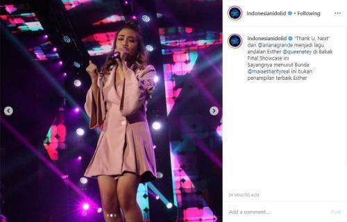 Esther di panggung Indonesian Idol 2019