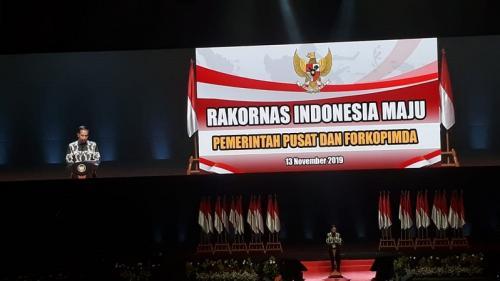 Presiden Jokowi saat buka Rakornas Pemerintah Pusat dengan Forkopimda di Sentul Convention Center, Bogor, Jawa Barat, Rabu (13/11/2019). (Foto : Okezone.com/Fakhrizal Fakhri)