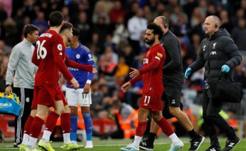 Mohamed Salah cedera engkel pada Oktober 2019 akibat terjangan Hamza Choudhury (Foto: Reuters)