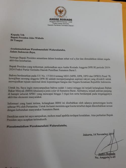Surat untuk Jokowi Foto: Ist