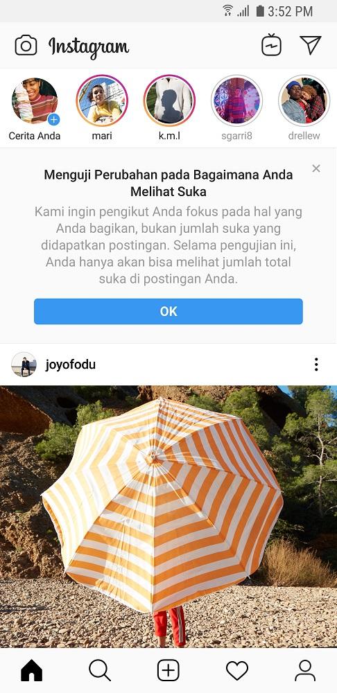 Instagram Uji Coba Sembunyikan Fitur Like di Indonesia