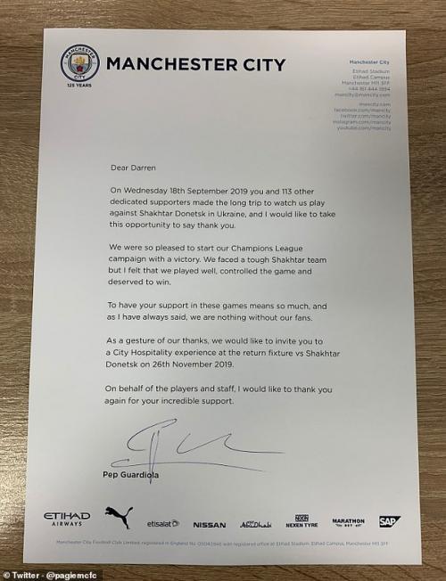 Surat Guardiola untuk pendukung Man City
