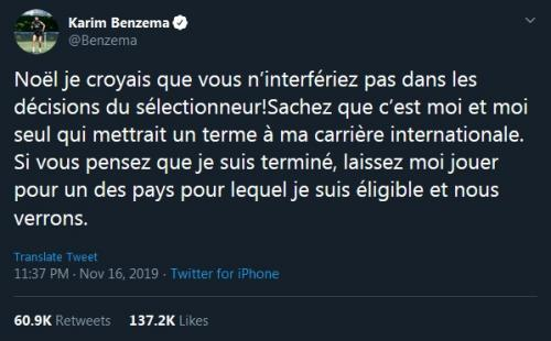Benzema kritik balik Presiden FFF (Foto: Twitter/@Benzema)