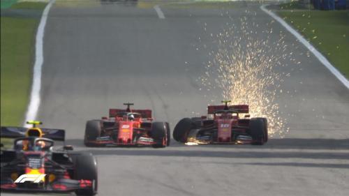 Mobil Sebastian Vettel dan Charles Leclerc bersenggolan di trek lurus (Foto: Twitter/F1)