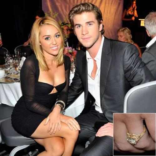 pertunangan bertahtakan berlian 3,5 karat dan 18karat emas yang dihiasi dengan ukiran motif floral untuk Miley.