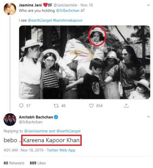 Seorang penggemar bertanya kepada Amitabh Bachchan siapa anak perempuan yang ada dalam gendongannya. (Foto: Twitter/@JaniJasmine)