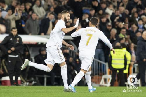 Karim Benzema dan Eden Hazard (Foto: Laliga)