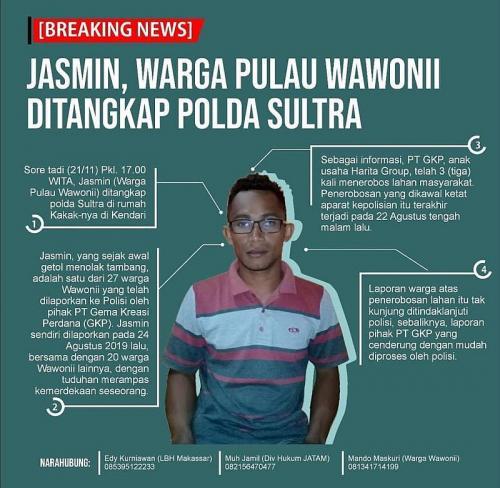Jasmin Warga Pulau Wawonii, Kabupaten Konawe Kepulauan, Sultra Ditangkap saat Berjuang Mempertahankan Lahannya dari Perusahaan Tambang (foto: JATAM)