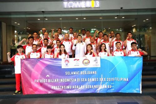 Timnas Biliar Indonesia di SEA Games 2019 (Foto: Djanti Virantika/Okezone)
