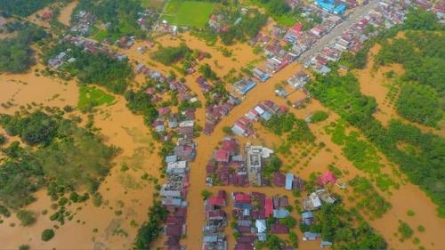 Banjir di Rokan Hulu (Rohul), Riau. (Ist)