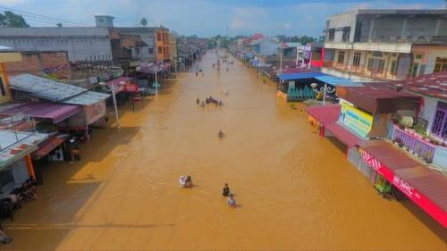 Banjir di Rokan Hulu (Rhoul), Riau. (Ist)