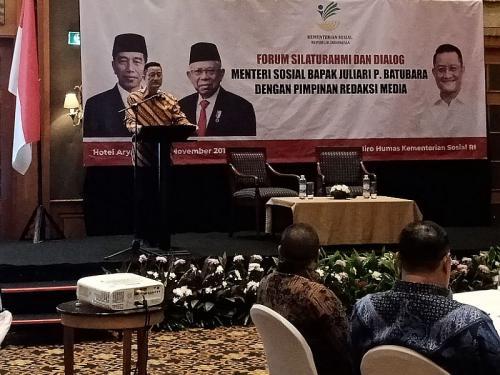 Mensos Juliari P Batubara dalam Forum Silaturahmi dan Dialog bersama Perwakilan Media (foto: Okezone/M Rizky)