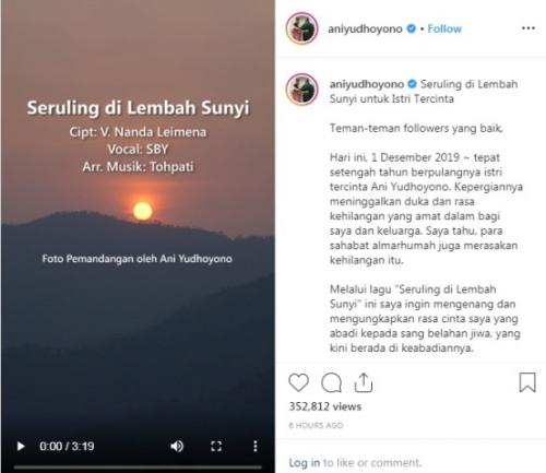 SBY dan keluarga aktifkan lagi akun Instagram Ibu Ani. (Foto: @aniyudhoyono)