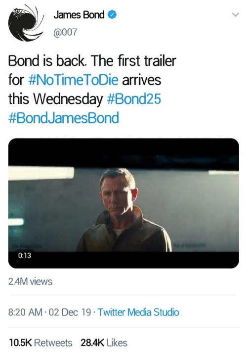 Pada 2 Desember 2019, teaser trailer perdana James Bond: No Time to Die dirilis. (Foto: Twitter/@007)