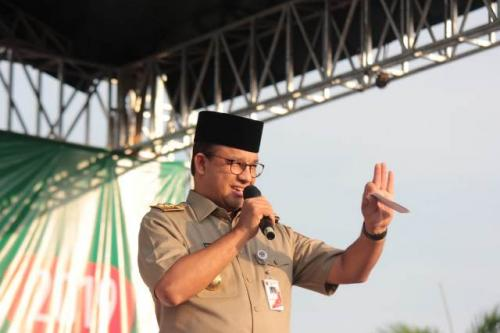 Gubernur DKI Jakarta Anies Rasyid Baswedan di Reuni 212. (Foto: Fadel Prayoga/Okezone)