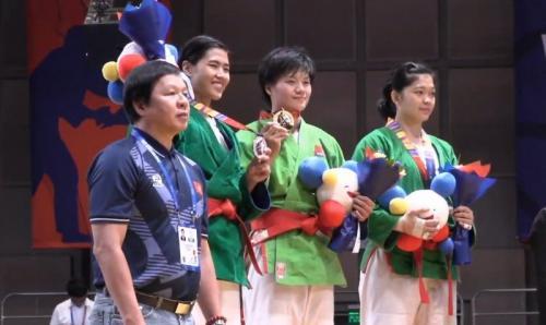 Podium cabang olahraga kurash nomor 70 kg putri SEA Games 2019. Foto: Istimewa