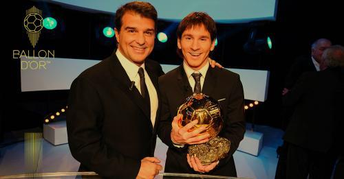 Lionel Messi saat meraih trofi Ballon dOr pertamanya