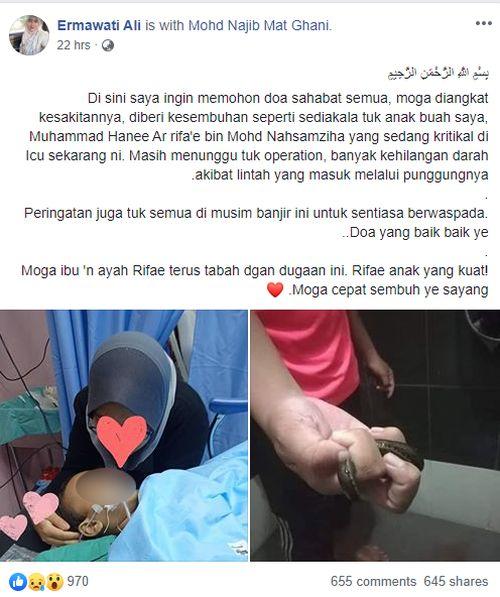 Muhammad Hanee Ar rifa'e bin Mohd Nahsamziha yang sedang koma di ICU sekarang ini.