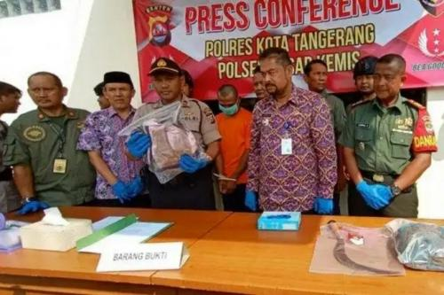 Polres Kota Tangerang rilis kasus pembacokan terhadap salah satu suporter Persita. (Foto : Okezone.com/Isty Maulidya)