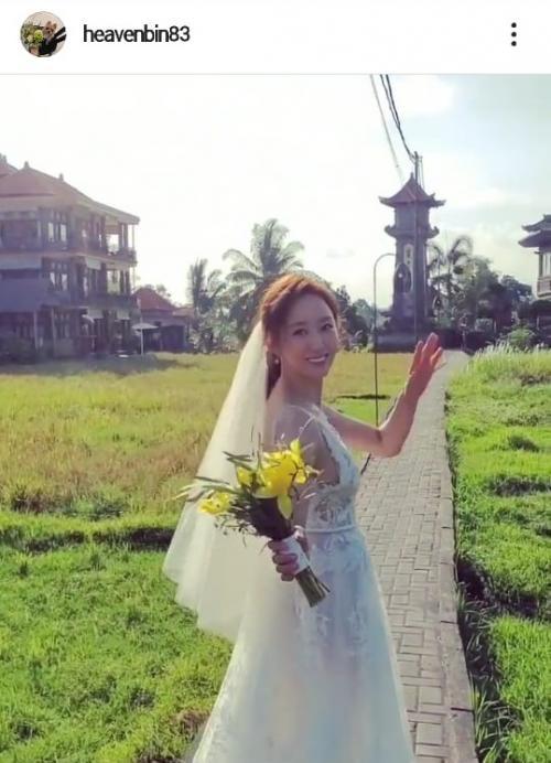 Jeon Hye Bin tampil sederhana dalam pernikahannya pada 7 Desember 2019. (Foto: Instagram/@heavenbin83)