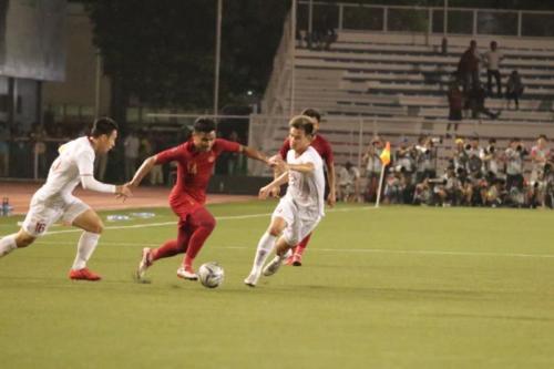 Suasana laga Timnas Indonesia U-22 vs Vietnam