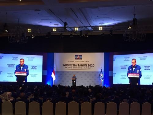 Pidato politik SBY Foto Harits Tryan