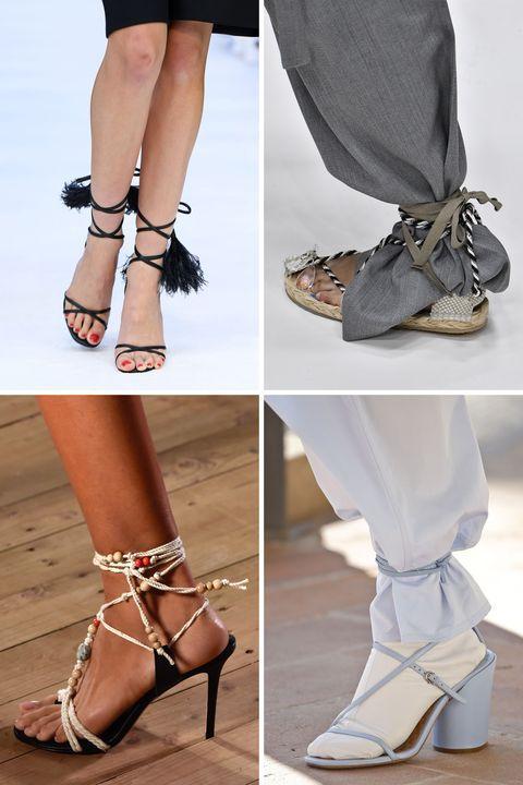 Sepatu dengan aksen tali ikat disebutkan akan banyak terlihat saat di musim semi dan musim panas tahun 2020.