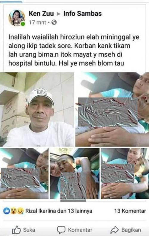 Warga Sambas Tewas Ditikam di Bintulu Malaysia (foto: Facebook)