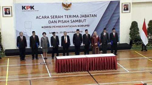 Sertijab pimpinan KPK. (Foto : Okezone.com/Fakhrizal Fakhri)