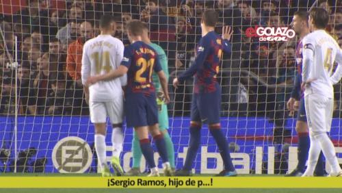Adegan Pique meminta kepada fans Barcelona untuk berhenti cemooh Ramos