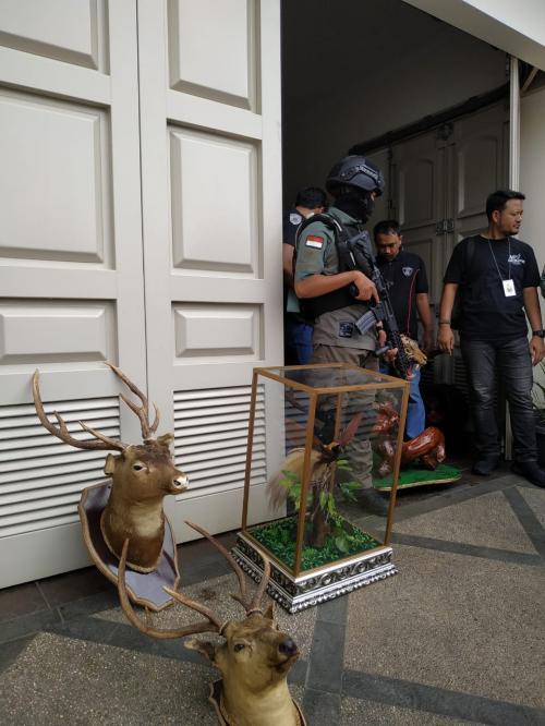 Polisi menggeledah rumah AM Foto: Ist