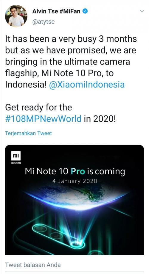 Xiaomi Luncurkan Mi Note 10 Pro 4 Januari 2020 di Indonesia