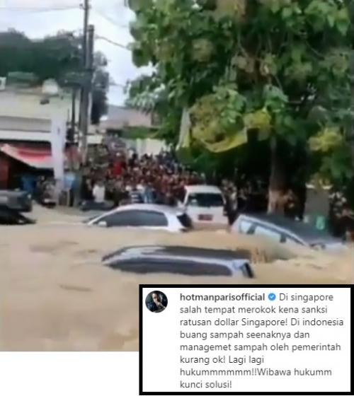 Hotman Paris soal banjir Jabodetabek. (Foto: Instagram/@hotmanparisofficial)