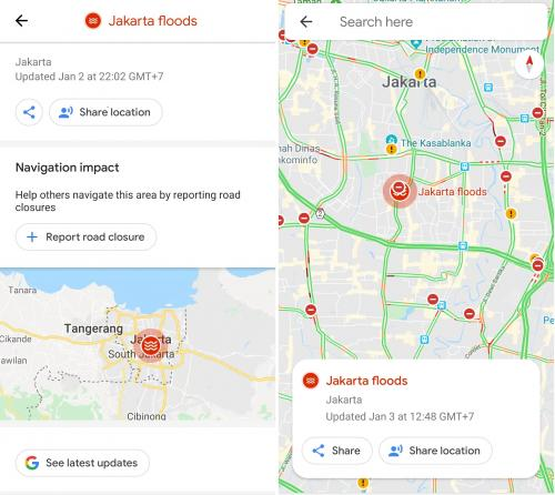Banjir yang terjadi di wilayah Jakarta membuat akses jalan menjadi terganggu.
