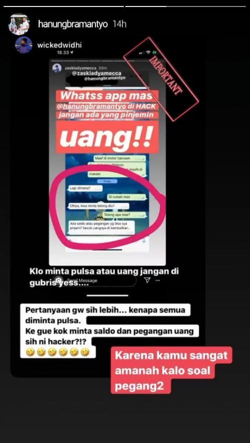 Nomor telpon Hanung Bramantyo diretas. (Foto: InstaStory/@hanungbramantyo)