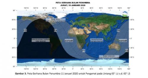 Pada 11 Januari 2020 dini hari akan terjadi Gerhana Bulan Penumbra di Indonesia.