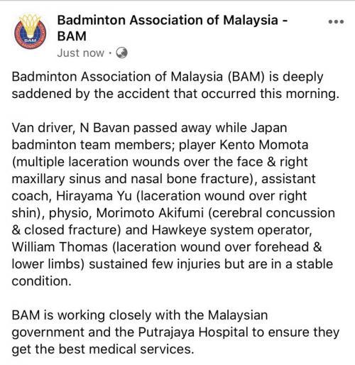 Pernyataan BAM di akun Facebook resmi