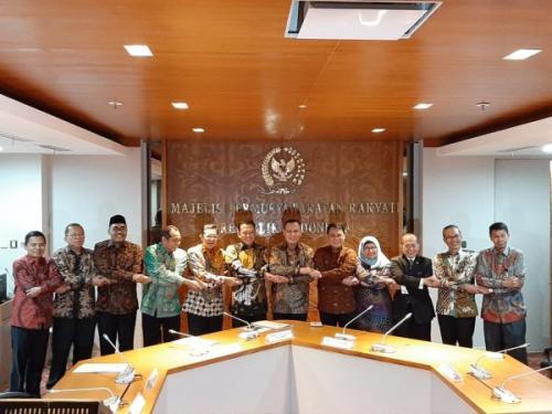 Pimpinan KPK bertemu pimpinan MPR (Foto : Okezone.com/Harits)