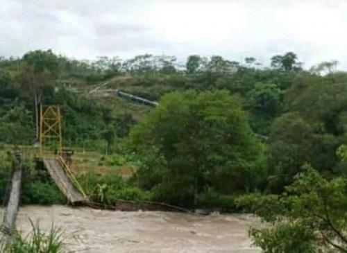 Jembatan gantung di Bengkulu putus (Foto : Istimewa)