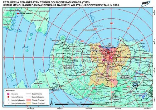 Operasi hujan buatan dilakukan melalui Posko TMC di Lanud Halim Perdanakusuma, Jakarta Timur.