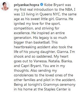 Duka Priyanka Chopra untuk Kobe Bryant