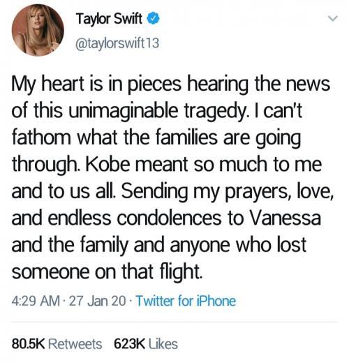 Duka Taylor Swift untuk Kobe Bryant. (Foto: Twitter/@taylorswift13)