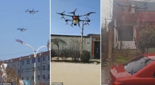 Pasukan drone dikerahkan di China untuk menyemprotkan cairan disinfektan ke desa-desa dan kota-kota yang terkena virus korona.