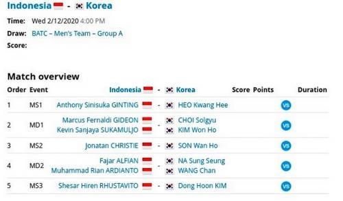 Susunan pemain tim putra Indonesia vs Korsel