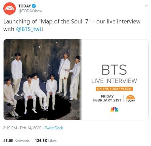 BTS akan jadi bintang tamu The Today Show pada 21 Februari mendatang. (Foto: Twitter/@TODAYshow)
